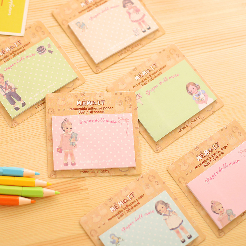 60 pcs/Lot Paper doll mate Memo pad Post sticky notes Baby doll for girl Wholesale stationery material School supplies EM651