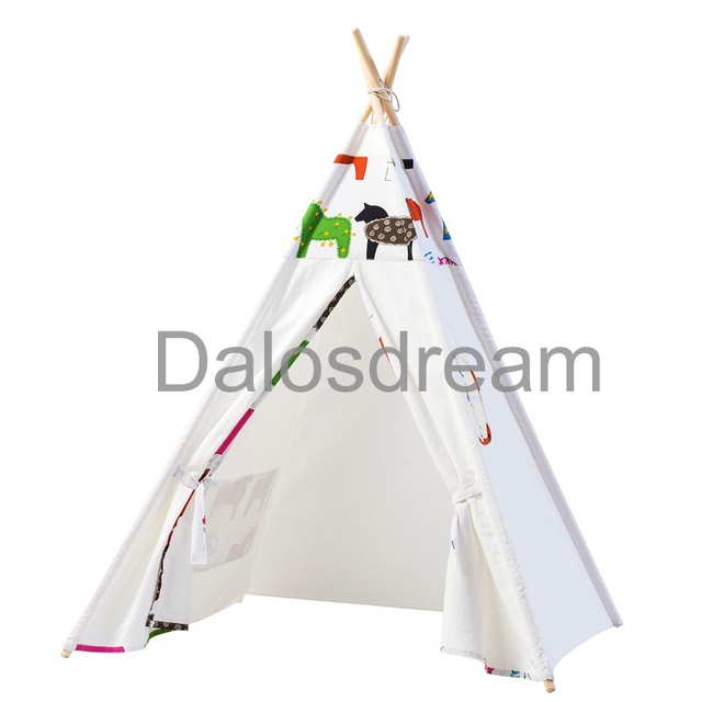 DalosDream Indian Design Kids Teepee Horse Pattern Children Toy Tents Natural Cotton Canvas Indoor Children Teepee  sc 1 st  AliExpress.com & DalosDream Indian Design Kids Teepee Horse Pattern Children Toy ...