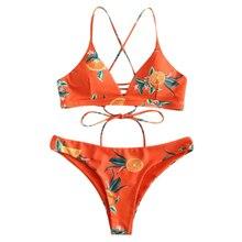 Female Orange Print Criss Cross Bikini Set Summer Beach Women Sexy Backless High Waist Swimsuit Adjustable Straps Women Bikinis