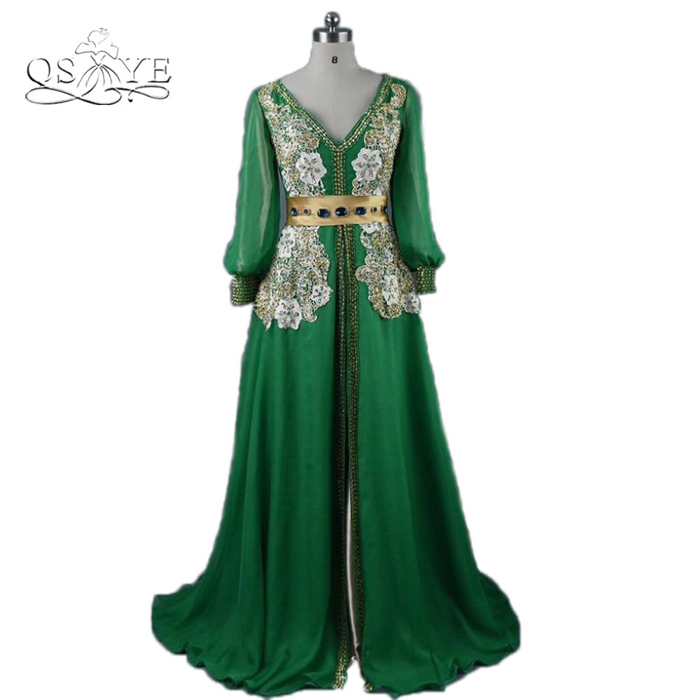 Moroccan Caftan Kaftan Muslim Dubai Evening Dress 2016 Vestidos longo V-Neck Formal Prom Dress Gold Green Chiffon Long Sleeves