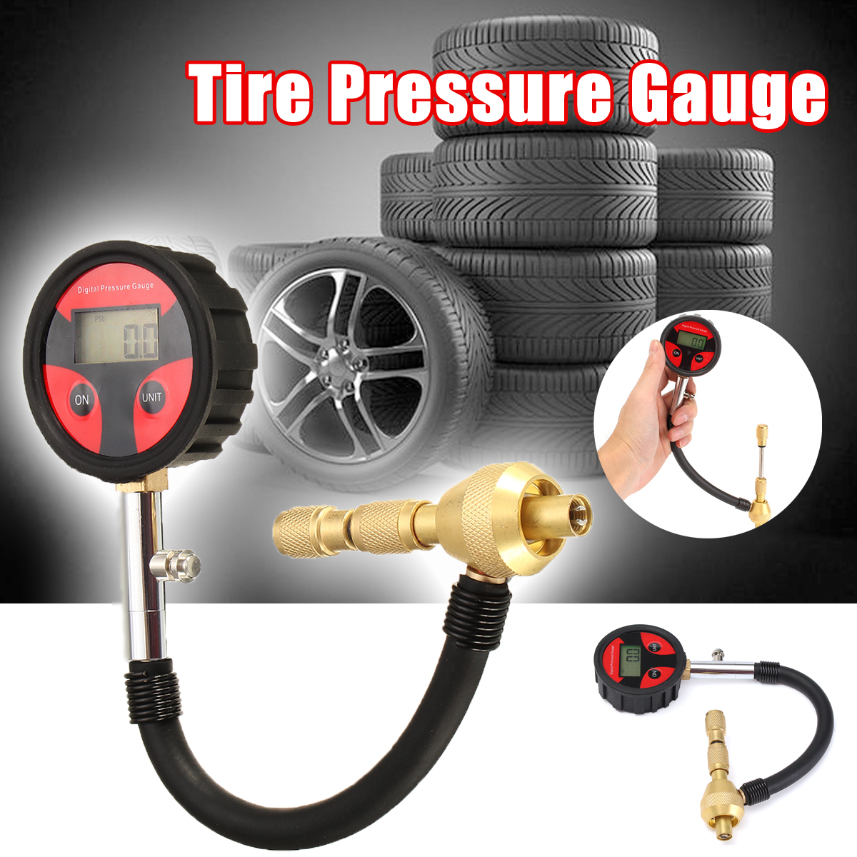 Auto Motorcycle Car Cycle Truck Tire LCD Digital Pressure Gauge With Tire Core 2x Built-in CR2032