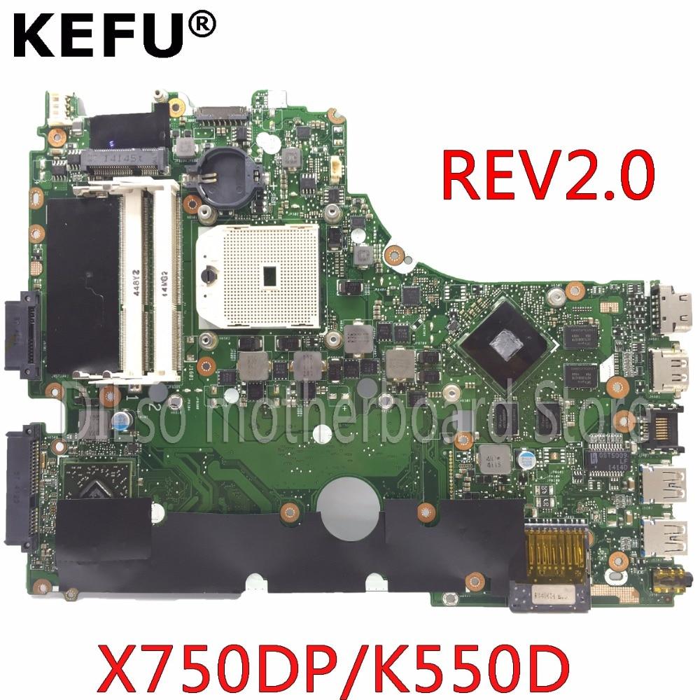 Carte mère KEFU X750DP pour ASUS X750DP K550D X550D K550DP X550DP carte mère d'ordinateur portable rev2.0 LVDS carte mère Test d'origine