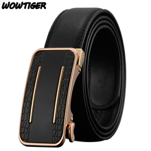 WOWTIGER Men`s Belt Automatic buckle fashion business Famous brand luxury Leather belts for men