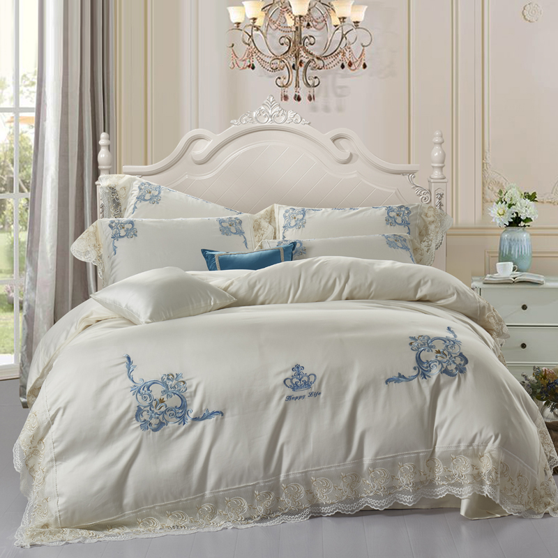 100% Egyptian Cotton Luxury Embroidery crown Bedding set 4Pcs King Queen size bed sheet set lace Duvet cover pillow shams