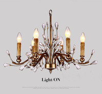Dia 25 59 American Village Iron Crystal Chandelier French Antique Candelabra Ustres De Cristal 6 Heads