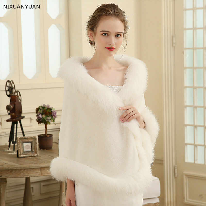 Hot Sale 2020 Cheap Wedding Jacket Bride Wraps Cape Winter Wedding Dress Wraps Bolero Wedding Fur Bridal Coat Accessories