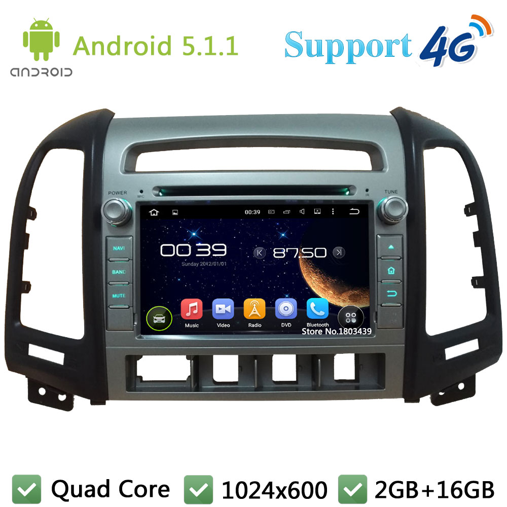 "Quad Core 7"" 1024*600 Android 5.1.1 Car Multimedia DVD Player Radio DAB 3G/4G WIFI GPS Map For Hyundai SANTA FE 4 Hole 2006-2011"