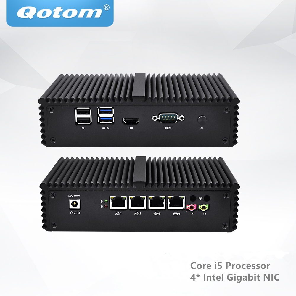 QOTOM AES-NI Mini PC 4 Gigabit NIC Ports, Fanless Core i5 Mini PC PFSense qotom fanless mini pc dual nic dual display pos machine advertising machine cash register core i3 i5 mini pc dc 12v