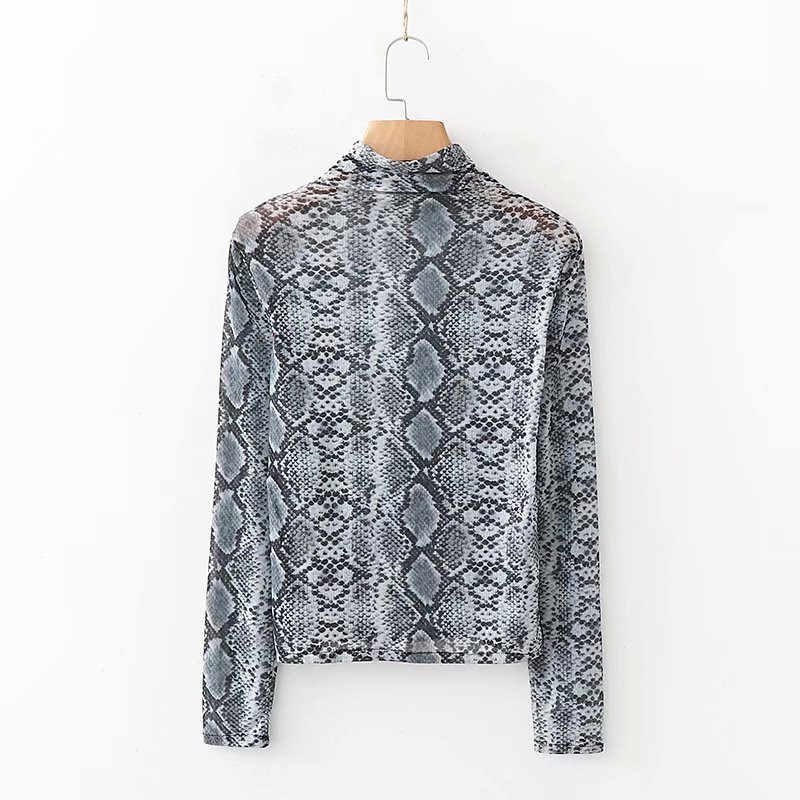 ce9246cfe24e ... NSZ Women Animal Print Snake Skin Transparent Shirt Sheer Blouse Long  Sleeve Turtleneck Crop Tops Smock ...