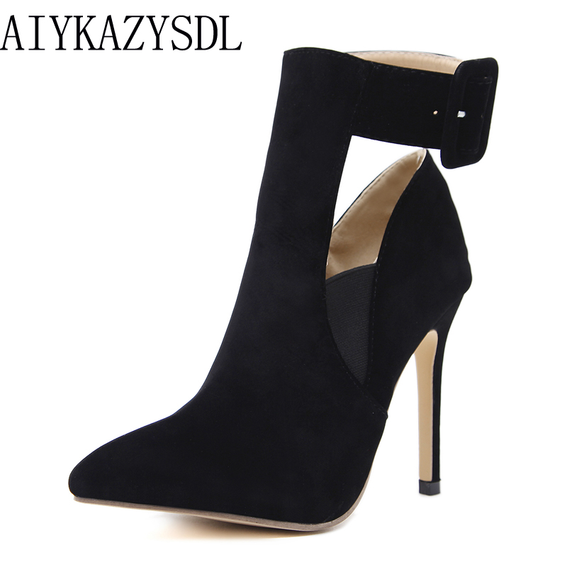 AIYKAZYSDL Spring Autumn Women Pointed Toe Pumps Elastic Band Ankle Strap Buckle High Heel Stiletto 2018 Shoes Fashion Woman pu pointed toe flats with eyelet strap