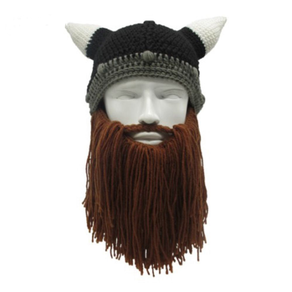 1PC Men Women Funny Handmade Knit Barbarian Viking Beanie Beard Horn Hat Winter Warm Cap Cool Gag Halloween Party Xmas Gifts