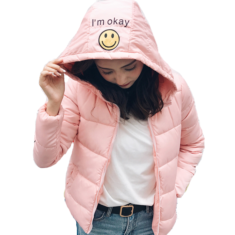 2019 hooded student cute women winter basic jacket short plus size cotton padded female coat outerwear casaco feminino