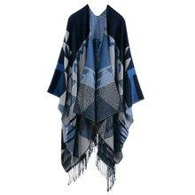 купить Bohemian Women's Autumn Winter Poncho Ethnic Scarf Fashion Print Blanket carves Lady Knit Shawl Tassel Cape Thicken Pashmina  по цене 979.41 рублей