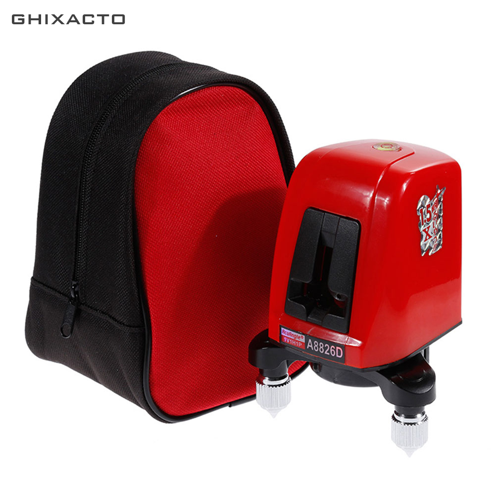 GHIXACTO Pro Laser Level A8826D 360 Rotate 635nm Slash Function Self leveling 2 Red Lines 1 Point Cross Nivel Diagnostic