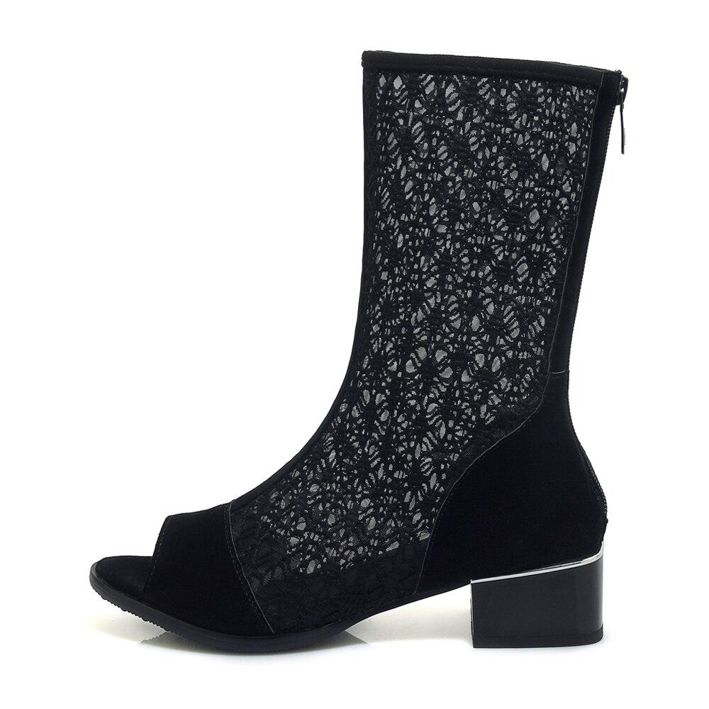 Mesh Weibliche Stiefel 33 Frauen Casual Schwarz Platz Foreada 43 2019 Peep Sommer Größe Schwarzes Große Schuhe Heels Toe Zipper Ausschnitt tzwT7Bq