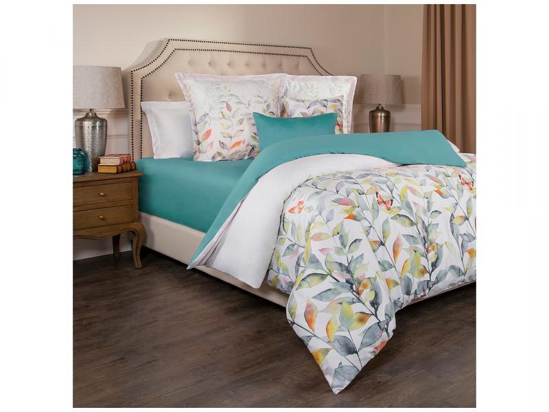Bedding Set double-euro SANTALINO, Harmonica, White/Turquoise ethnic style faux turquoise necklace earrings bracelet set