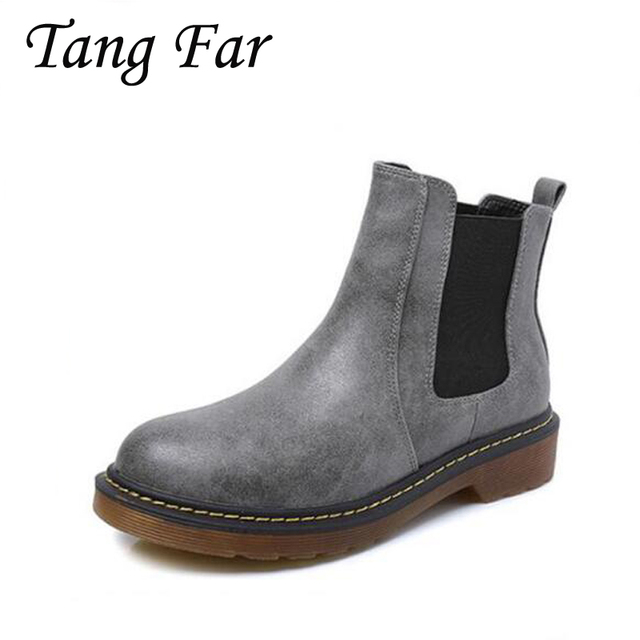 Women Chelsea Boots Plus Size 43 42 2017 New Spring Ankle Martin Boots  British Womens Flat