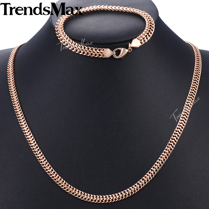 Men Women 39 s Jewelry Set 585 Rose Gold Bracelet Necklace Set Double Curb Cuban Weaving Bismark Chain 2018 Wholesale Jewelry KCS04 in Jewelry Sets from Jewelry amp Accessories