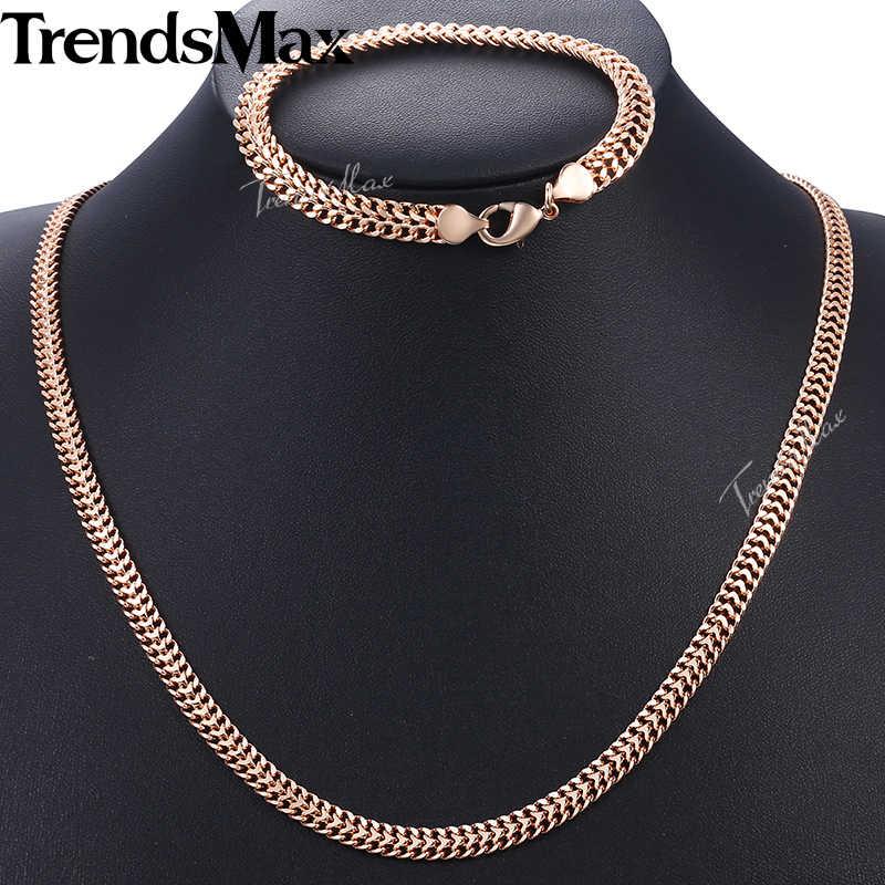 Zestaw biżuterii męskiej kobiet 585 bransoleta z różowego złota naszyjnik zestaw Double Curb kubański tkactwo Bismark Chain 2018 hurtownia biżuterii KCS04