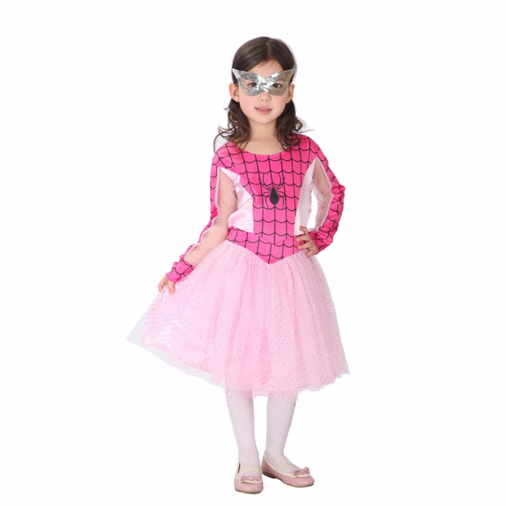 Baby Girls Halloween Christmas Birthdays Cosplay Costume Party Pink Spider Dress Masquerade Clothes For Children Girls Costume цены онлайн