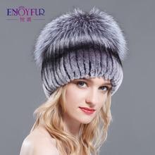 ENJOYFUR 冬レックスウサギの毛皮の帽子の女性ビーニーでトップニットキツネの毛皮の新ブランドカジュアル良質キャップ