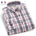 Langmeng Brand 2016 New Mens 100% Cotton Plaid Shirts Men Long Sleeve Fashion Casual Shirt Male Dress Shirts Chemise Homme