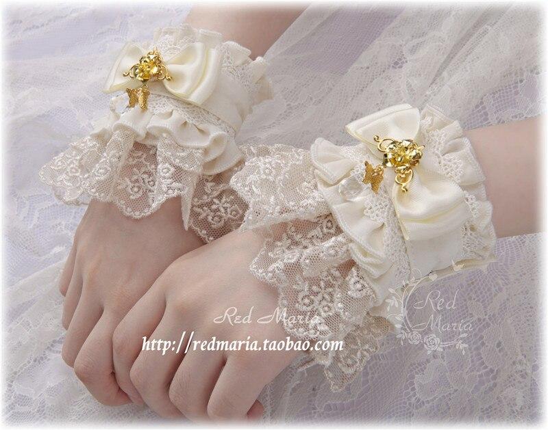 1 paire fait à la main magnifique Lolita Bracelet dentelle poignets Style victorien rétro élégant foncé boutonné poignet manchette