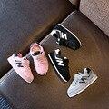 2017 nueva malla costura letras girls shoes niños mocasines 21-25 niños casual sports shoes