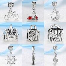 d29c1b3fe1e5 2019 cuentas de plata viaje Torre Eiffel Big Ben maleta colgante Charm Fit  Pandora mujeres Diy pulseras collar joyería
