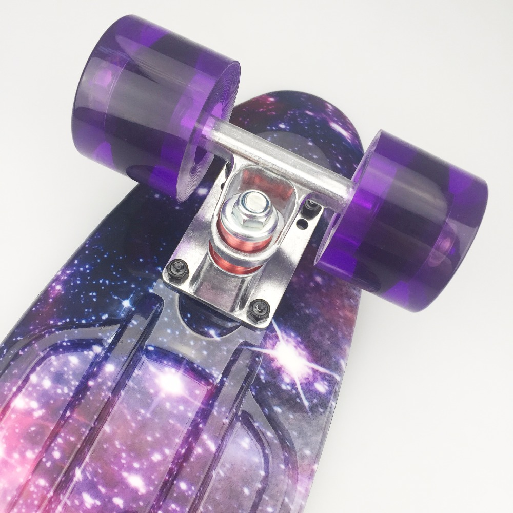 "Image 4 - 22 inch Kids Mini Fish Skateboard Purple color mixed universal Plastic Cruiser Board Completes Nologo 22"" Banana Skateboard-in Skate Board from Sports & Entertainment"