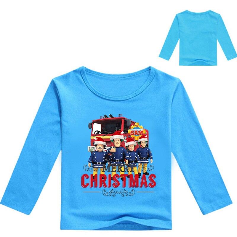 Z&Y 3-16Years Fireman Costume Firefighter Sam Boy Christmas Tshirt Kids Football Shirt Teenage Girls Sweatshirt Bobo Choses