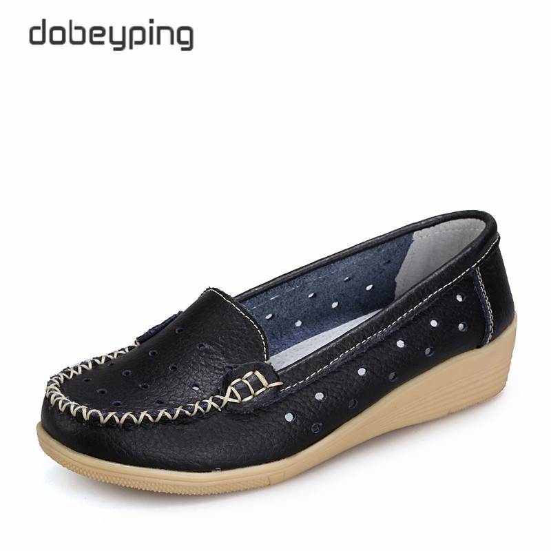 Genuine Leather Women's Casual Shoes Cut-Outs Women Summer Flats Shoe New Slip-On Female Loafers Mother Platform Woman Footwear георгий виниковецкий посмотри направо