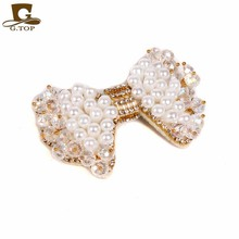 Hat accessory Fashion Jewelry pearl beaded Crystal bow Brooch Pin