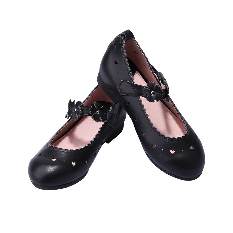 Girls shoes spring and autumn black flowers leather children's shoes comfortable low-heeled easy to wear children's shoes