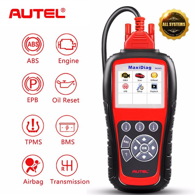 Autel MaxiDiag MD805 All System Auto ABS Airbag SRS EPB OBD2 Code Reader Scanner Engine Transmission TPMS OBDII Diagnostic Tool