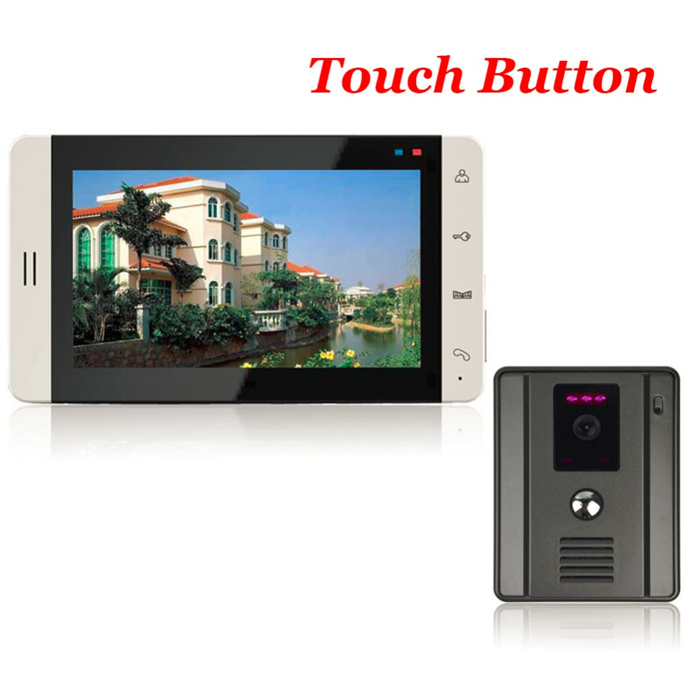 Home 7 TFT Touch Key Color Screen Video Doorphone Intercom System Wide Angle Night Vision Outdoor Camera Video Doorbell lcd wired video security doorphone camera tft screen video interphone infrared night vision doorbell intercom