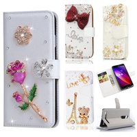 For Moto G2 G5 G4 G4 Plus Diamond Butterfly Printed Pattern Leather Case TPU Back Cover