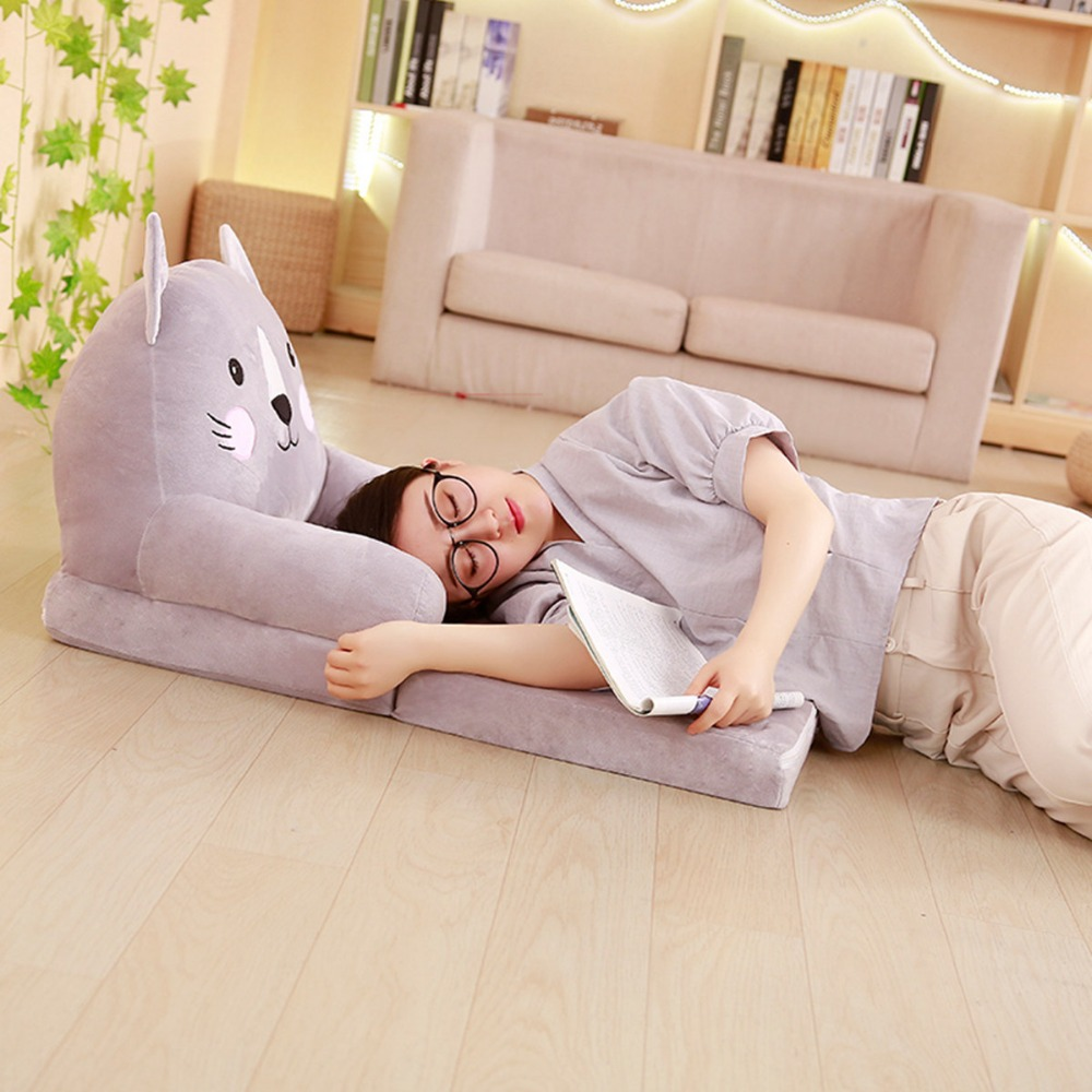 Lazy Kawaii Sofa Baby sofa Tatami Cartoon Cartoon Folding Sofa Plush Toy Creative Backrest Children's Birthday Gift Good Qualit