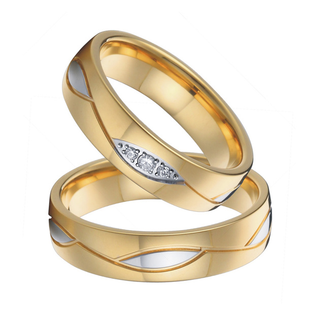 Wedding Band Couple Rings Gold Color Mens anillos anel bague bijoux femme Alliance Engagement Rings for Women