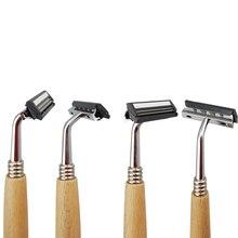 New  Creative personality retro Wood Handle Dual Edge Safety Razor Classic Manual Razors Long Men Shaving