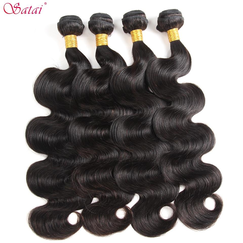 SATAI Body Wave Human Hair Bundles 4 Bundles Deal Indian Hair Natural Color Indian Hair Bundles