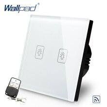 цена на 2 Gang 2 Way Remote Switch 110V-240V Wallpad White Glass EU European Standard 2 Gang 2 Way Electrical Remote Control Switch