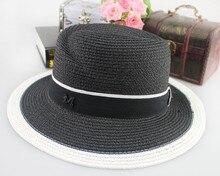 2017 Fashion Design Classic Black White Colors Jazz Sun Hat For Women Straw Outdoor Foldable Female Beach Sun Hat