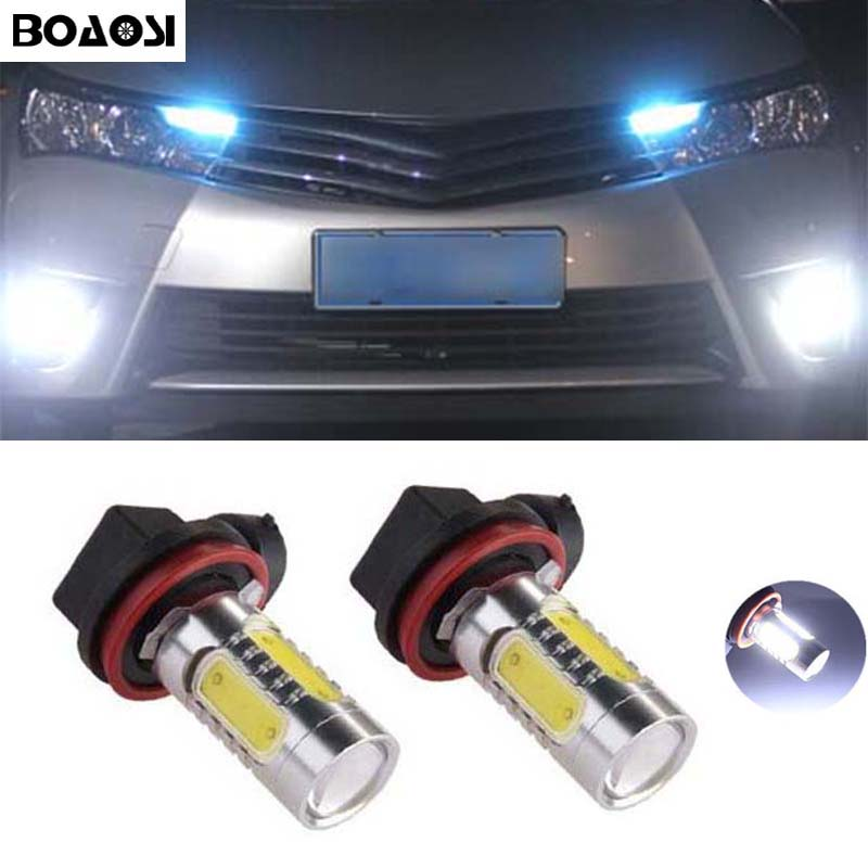 BOAOSI 2x H11 Led COB 7.5W LED Car Fog Light Bulbs For Toyota Prius Camry 2007-2014 Corolla 2011-2014 Car Accessories tcart 2x auto led light daytime running lights turn signals for toyota prius highlander for prado camry corolla t20 wy21w 7440