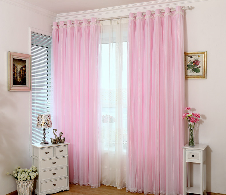 2016 Hot Selling Romantic Lace Curtain Pink Blue Green