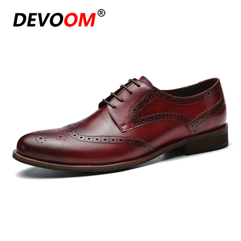 Fashion Claret Red Men Wedding Shoes 2018 New Handmade Italy Mens Dress  Shoes Genuine Leather Brogue Formal Shoes Luxury Brand c3796243f35e