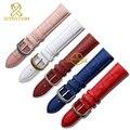 Натуральная кожа ремешок для часов пояса ремень женщины наручные часы группа синий розовый красный белый розовый пряжка 12 мм 14 мм 16 мм 18 мм 20 мм