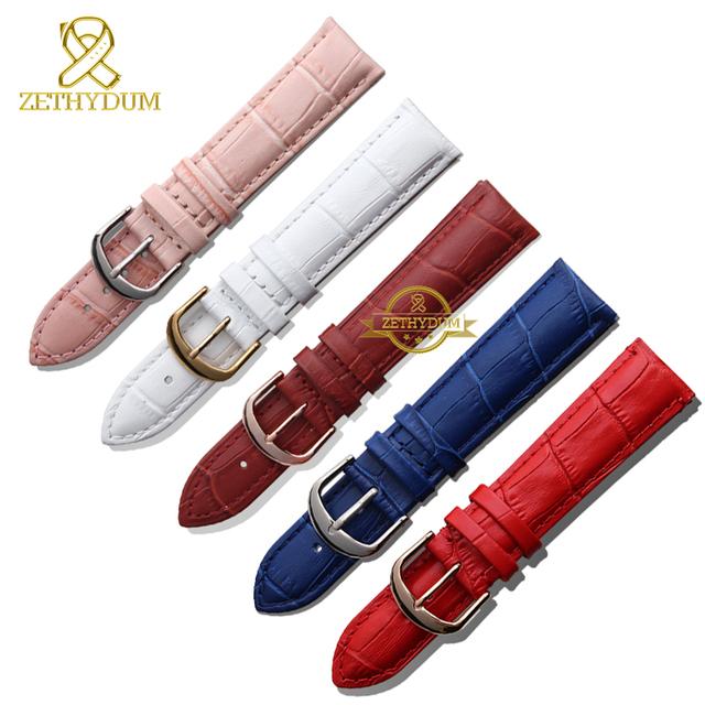 Genuíno relógio pulseira de couro cinto da mulher relógios de pulso banda azul rosa vermelho branco rosa fivela 12 mm 14 mm 16 mm 18 mm 20 mm