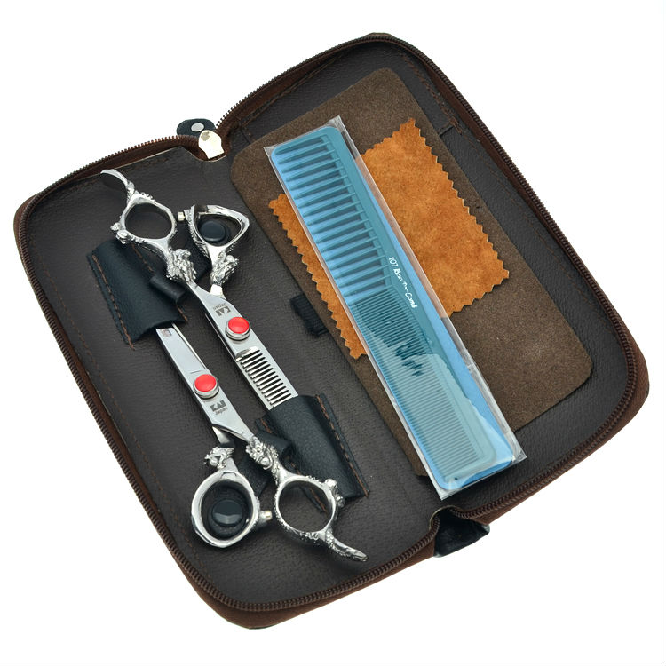 6.0 Japan Professional Hair Scissors Set Hairdressing Cutting Scissors Barber Thinning Shears JP440C, LZS0363 scissors 6 inch professional hair cutting scissors hairdressing salon barber shears dragon shaped handle