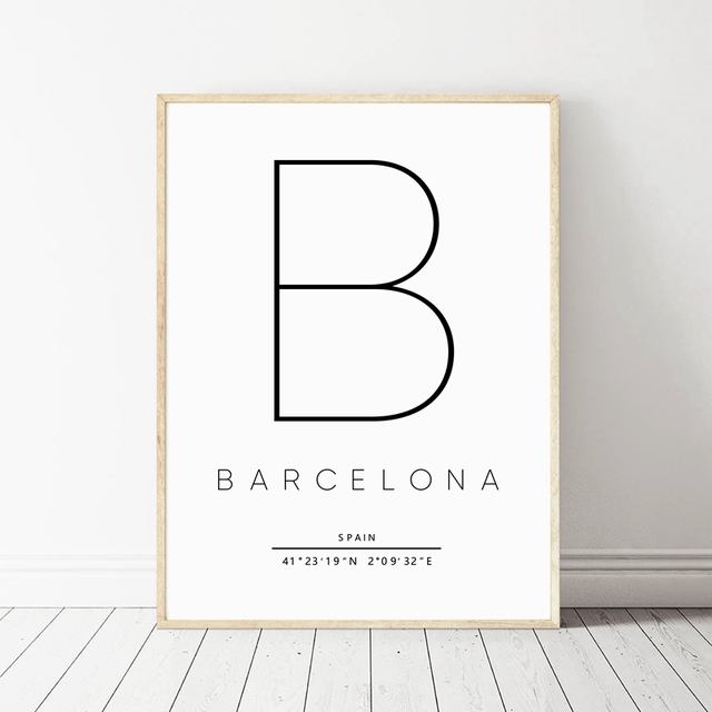 Barcelona Print City Map Poster Typography Modern Wall Art Canvas Painting Spanish Scandi Nordic Home
